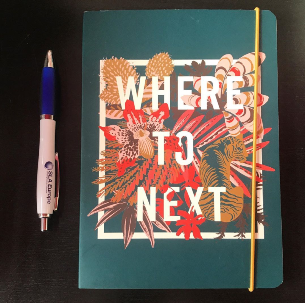 "Pen and notebook with the words ""WHERE TO NEXT"" on the cover."