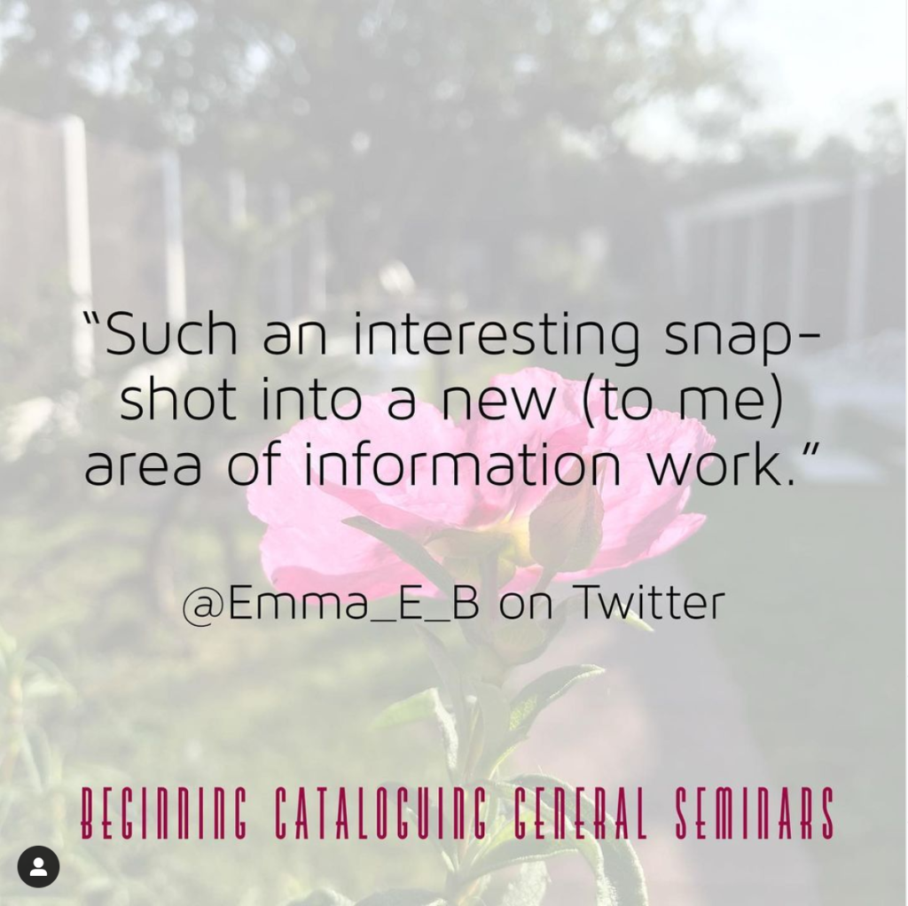 """""""Such an interesting snapshot into a new (to me) area of information work."""" - @Emma_E_B on Twitter"""