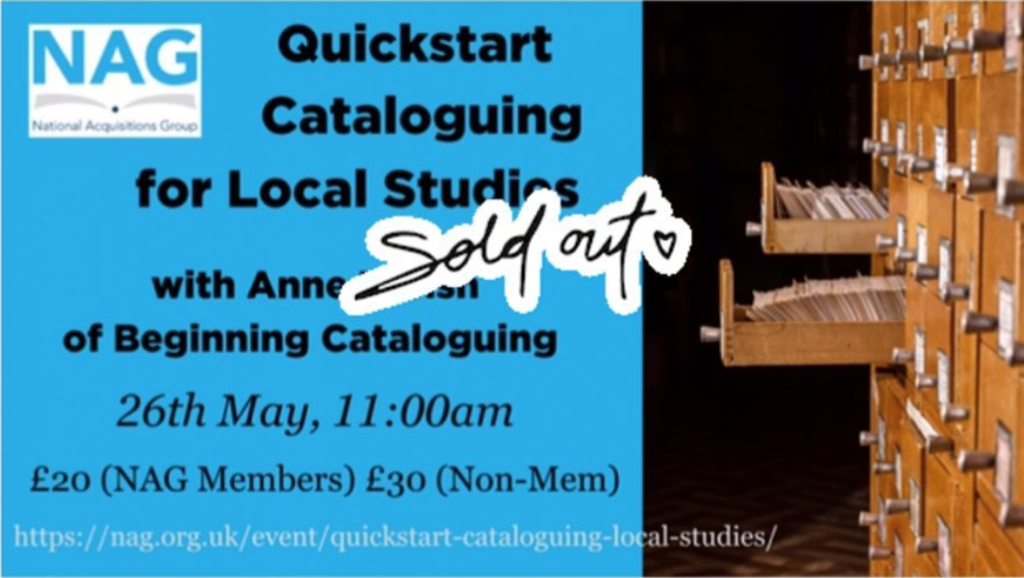SOLD OUT: QuickStart Cataloguing for Local Studies