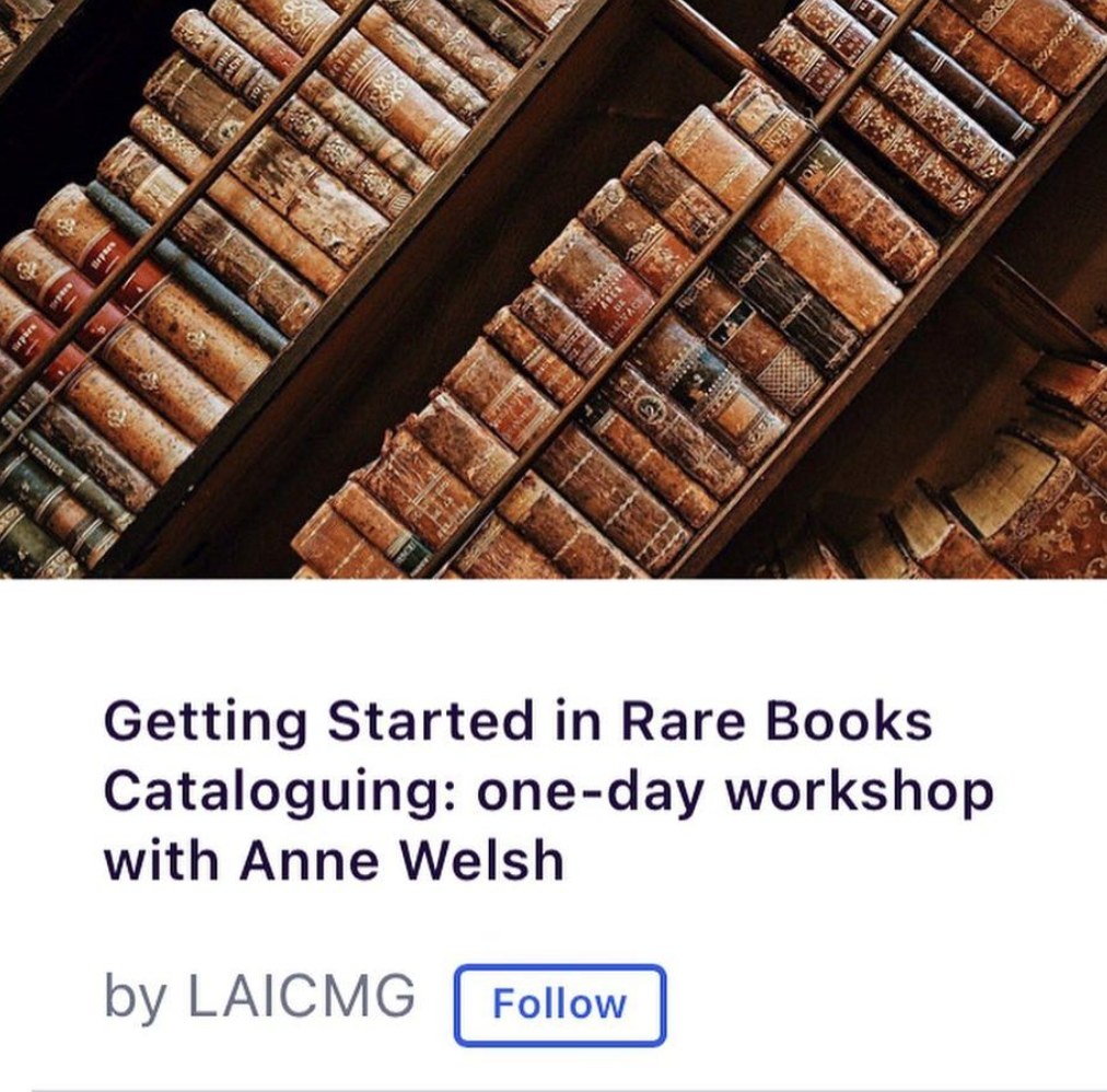 Getting Started in Rare Books Cataloguing: one-day workshop with Anne Welsh